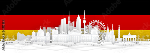 Fototapete Germany flag and famous landmarks in paper cut style vector illustration.