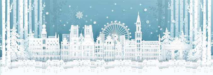 Fototapete - Panorama postcard and travel poster of world famous landmarks of Belgium in winter season in paper cut style vector illustration