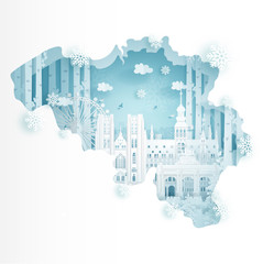 Fototapete - Winter in Belgium for travel and tour advertising concept with world famous landmark in paper cut style vector illustration