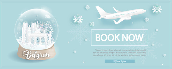 Fototapete - Flight and ticket advertising template with travel to Belgium in winter season with famous landmarks in paper cut style vector illustration