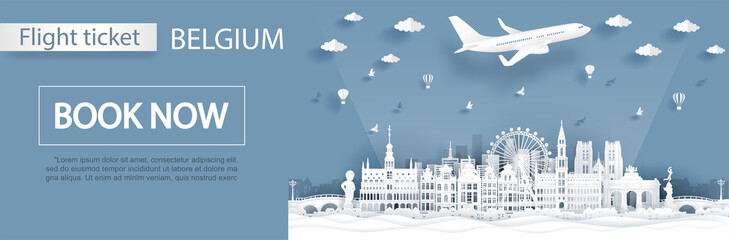 Flight and ticket advertising template with travel to Belgium concept, Brussels ,Belgium famous landmarks in paper cut style vector illustration