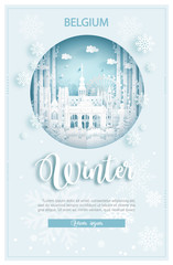 Fototapete - Winter in Belgium for travel and tour advertising concept with world famous landmark in paper cut style vector illustration.
