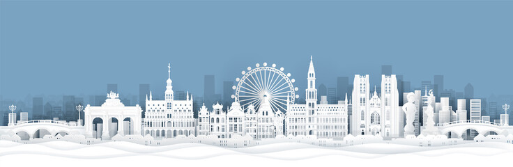 Fotomurales - Panorama view of Belgium skyline with world famous landmarks in paper cut style vector illustration