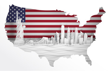 Fototapete - Panorama view of New York City, United States of America skyline with world famous landmarks in map concept. Paper cut style vector illustration