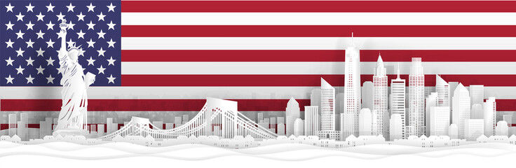 Fototapete - Panorama view of New York City, United States of America skyline with world famous landmarks in paper cut style vector illustration