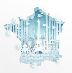 Fototapete - Winter in Paris, France with map concept for travel and tour advertising concept with world famous landmark in paper cut style vector illustration.