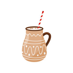 Hot chocolate in brown ceramic mug with drinking straw. Delicious Christmas beverage. Tasty drink. Flat vector icon