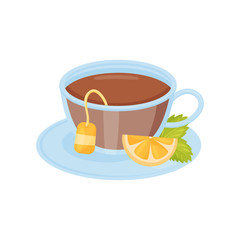 Glass cup of hot tea, lemon slice and green mint leaves on saucer. Tasty drink. Flat vector design