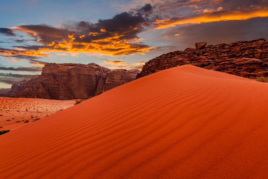 Wadi Rum desert landscape at sunset, Jordan