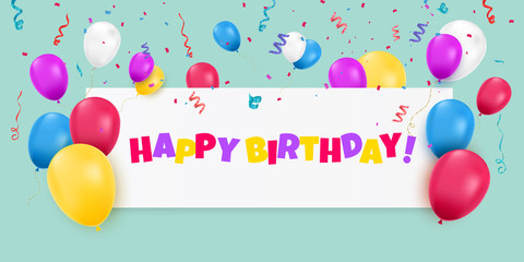 Happy Birthday banner with color balloons and confetti on blue background.