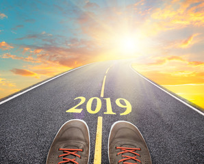 a road to new 2019 year, goals and resolutions consept