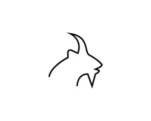 Goat head line vector illustration