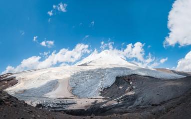 Glacier and rocks on Elbrus mountain