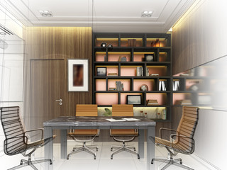sketch design of interior conference room, 3d rendering