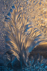 New Year and Christmas abstract icy snowy background with real ice crystals macro i