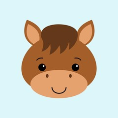 Farm animals. Illustration of cute Horse. Flat style