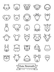 Cute animal faces line icon vector illustration