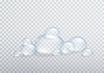 Shampoo or water bubbles isolated on transparent background. Vector shower gel, liquid soap foam template.
