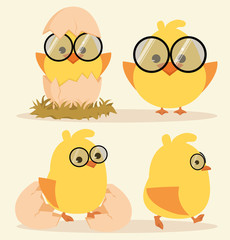 Cartoon Cute Chick Set