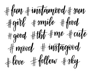 Hashtags Instagram Vector 15 popular instagram hashtags. Hand-drawn set design