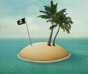 Background or illustration or poster of  lonely island with palm trees and  pirate flag in the sea.