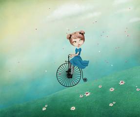 Magic fantasy Spring illustration with  girl riding  bike.