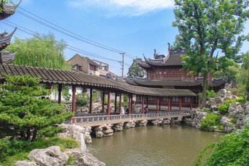 Traditional pavilions in Yuyuan Garden (Garden of Happiness) Shanghai, China