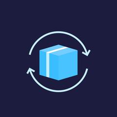 parcel return icon, vector