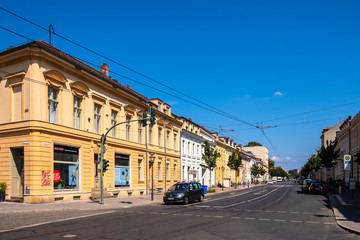 Potsdam, Germany - Panoramic view of the Charlottenstrasse street in the historic quarter of Potsdam.