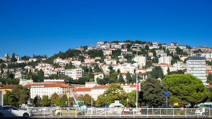 View over the Cityscape of some Houses on a Hill in the Harbor City of Rijeka in Croatia