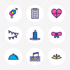 Vector illustration of 9 holiday icons colored line. Editable set of music, flags, crown and other icon elements.