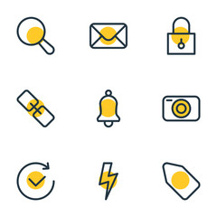Vector illustration of 9 application icons line style. Editable set of camera, search, link and other icon elements.