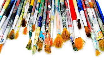 Many colorful paintbrush of artist be stained water or acrylic color isolated on white background and selective focus - Object, Tool and Art concept