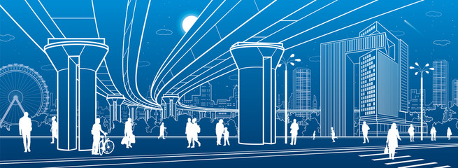 Business Center, city architecture. People walking at town street. Road crosswalk. Road bridge, overpass. Ferris wheel. Urban life. Vector design art