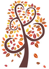 Decorative autumn tree with color leaves