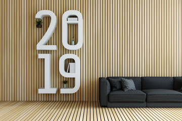 3D Rendering : illustration of 2019 book shelf over soft couch sofa against wooden tile wall and floor. living room interior design. minimal living room decoration concept. rest area of house
