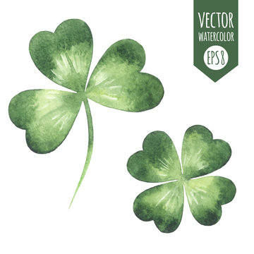 Clover leaves set - quarterfoil and  trefoil. Watercolor realistic shamrock vector spring illustration. St. Patrick's Day watercolour design element, template for cards, greetings, banners.