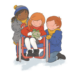 Multiethnic Group of Kids (and Child Using a Weelchair) Playing Together, Opening a Gift - Illustration for Children about Difference and Friendship, Vector, Clipart