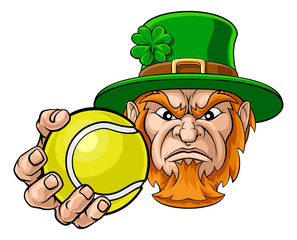 A leprechaun tennis sports mascot holding a ball