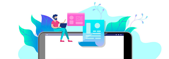 Concept Education people, Internet studying, online training, online book, tutorials, e-learning for social media, distance education, documents, cards, posters. Vector illustration online education