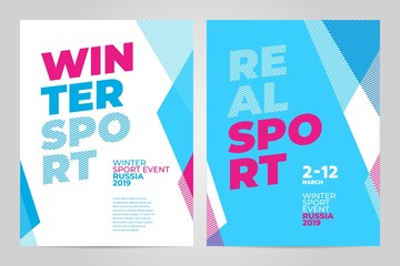 Layout poster template design for winter sport event, tournament or championship. 2019 trend.