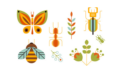 Collection of insects and plants, butterfly, bee, ant and nature and beetle deer, ecology design elements vector Illustration