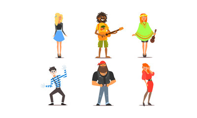 Different people, young and adult men and women characters of different nationalities, appearance and hobbies vector Illustration