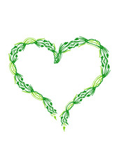 Heart made of green leaves isolated on white