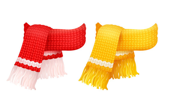 Yellow and red knitted scarf, white woolen threads