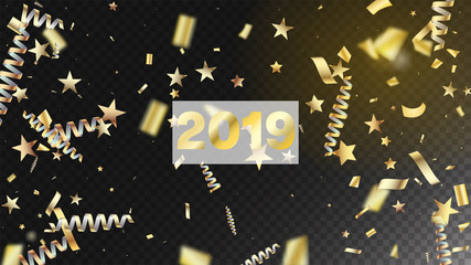 2019 New Year Confetti Realistic Falling Golden Tinsel.  Cool Glamour Christmas, New Year, Birthday Party Holiday Border. Horizontal Lights Explosion Background. New Year Confetti Golden Tinsel