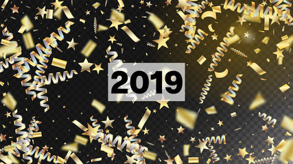 2019 Luxury Confetti, Isolated Stars, Tinsel Falling. Cool Platinum Christmas, New Year, Birthday Party Holiday Scatter. Horizontal Magic Bokeh Background. Luxury Confetti, Isolated Gold