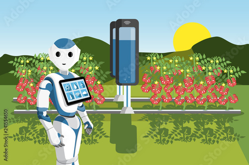 Growing plants in the field with robot  Smart farm with