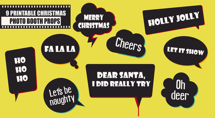 Christmas and New Year party photo booth props vector elements