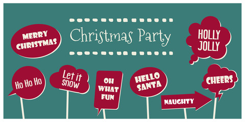 Christmas party photo booth props vector elements